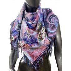 На фото 1 - Двухсторонний платок из кашемира, мультицвет