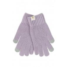 На фото 1 - Женские перчатки из шерсти с орнаментом и термонаклейкой, цвет сиреневый