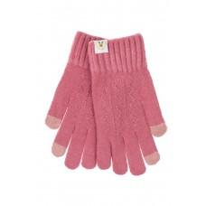 На фото 1 - Женские перчатки из шерсти с орнаментом и термонаклейкой, цвет малиновый