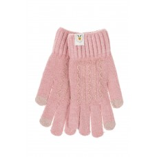 На фото 1 - Женские перчатки из шерсти с орнаментом и термонаклейкой, цвет розовый