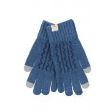 На фото 1 - Женские перчатки из шерсти с орнаментом и термонаклейкой, цвет синий