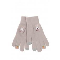 На фото 1 - Перчатки хлопковые с забавной вышивкой, цвет бежевый
