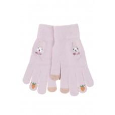 На фото 1 - Перчатки хлопковые с забавной вышивкой, цвет розовый