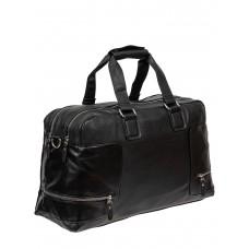 На фото 1 - Большая дорожная сумка из фактурной искусственной кожи, цвет чёрный