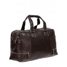 На фото 1 - Большая дорожная сумка из фактурной искусственной кожи, цвет шоколад
