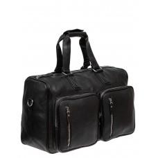 На фото 1 - Большая багажная сумка из фактурной искусственной кожи, цвет чёрный