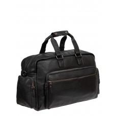На фото 1 - Сумка багажная из фактурной искусственной кожи, чёрная