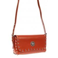 На фото 1 - Кожаная сумка с заклепками, цвет оранжевый