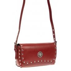 На фото 1 - Кожаная сумка с заклепками, цвет коричневый