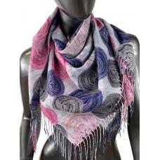 На фото 1 - Двухсторонний лёгкий платок из кашемира с узором, цвет розово-фиолетовый