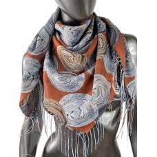 На фото 1 - Двухсторонний лёгкий платок из кашемира с узором, цвет красно-коричневый