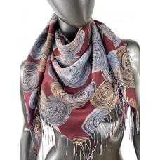 На фото 1 - Двухсторонний лёгкий платок из кашемира с узором, цвет бордовый