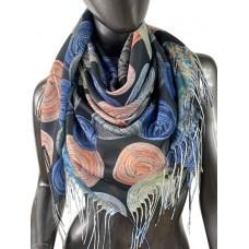 На фото 1 - Двухсторонний лёгкий платок из кашемира с узором, цвет чёрный