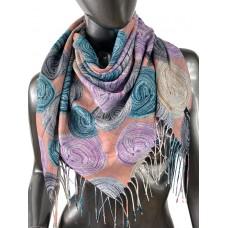 На фото 1 - Двухсторонний лёгкий платок из кашемира с узором, цвет пыльная роза