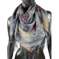На фото 1 - Двухсторонний лёгкий платок из кашемира с узором, цвет серый