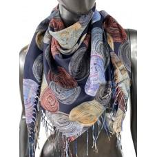На фото 1 - Двухсторонний лёгкий платок из кашемира с узором, цвет тёмно-синий