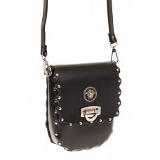 на фото Черная байкерская сумка из натуральной кожи D20MK5