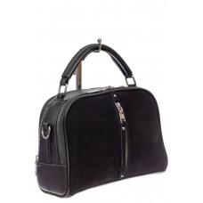 На фото 1 - Женская сумка-купол из комбинированных материалов, цвет чёрный