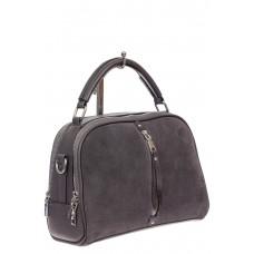 На фото 1 - Женская сумка-купол из комбинированных материалов, цвет серый