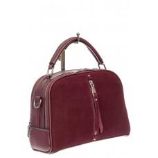 На фото 1 - Женская сумка-купол из комбинированных материалов, цвет бордовый
