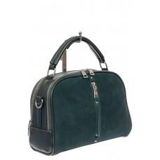 На фото 1 - Женская сумка-купол из комбинированных материалов, цвет зелёный