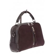 На фото 1 - Женская сумка-купол из комбинированных материалов, цвет коричневый