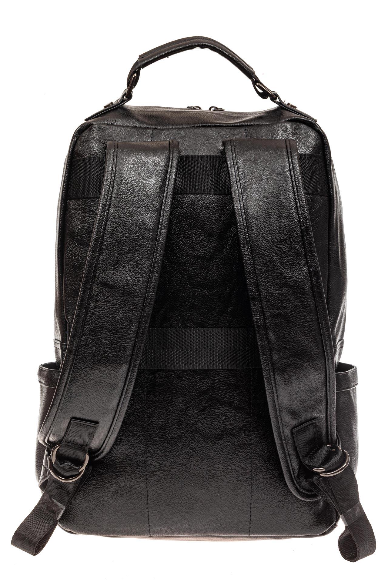 На фото 3 - Мужской рюкзак из искусственной кожи, цвет черный