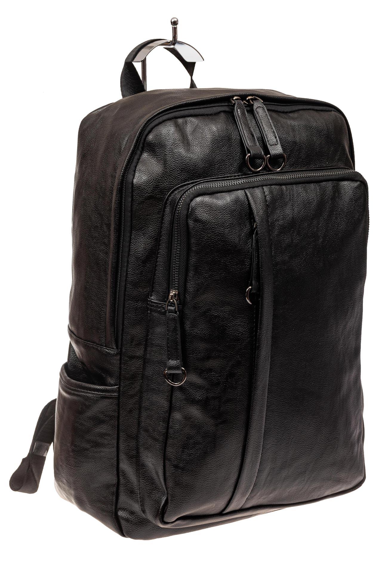 На фото 1 - Мужской городской рюкзак из искусственной кожи, цвет черный