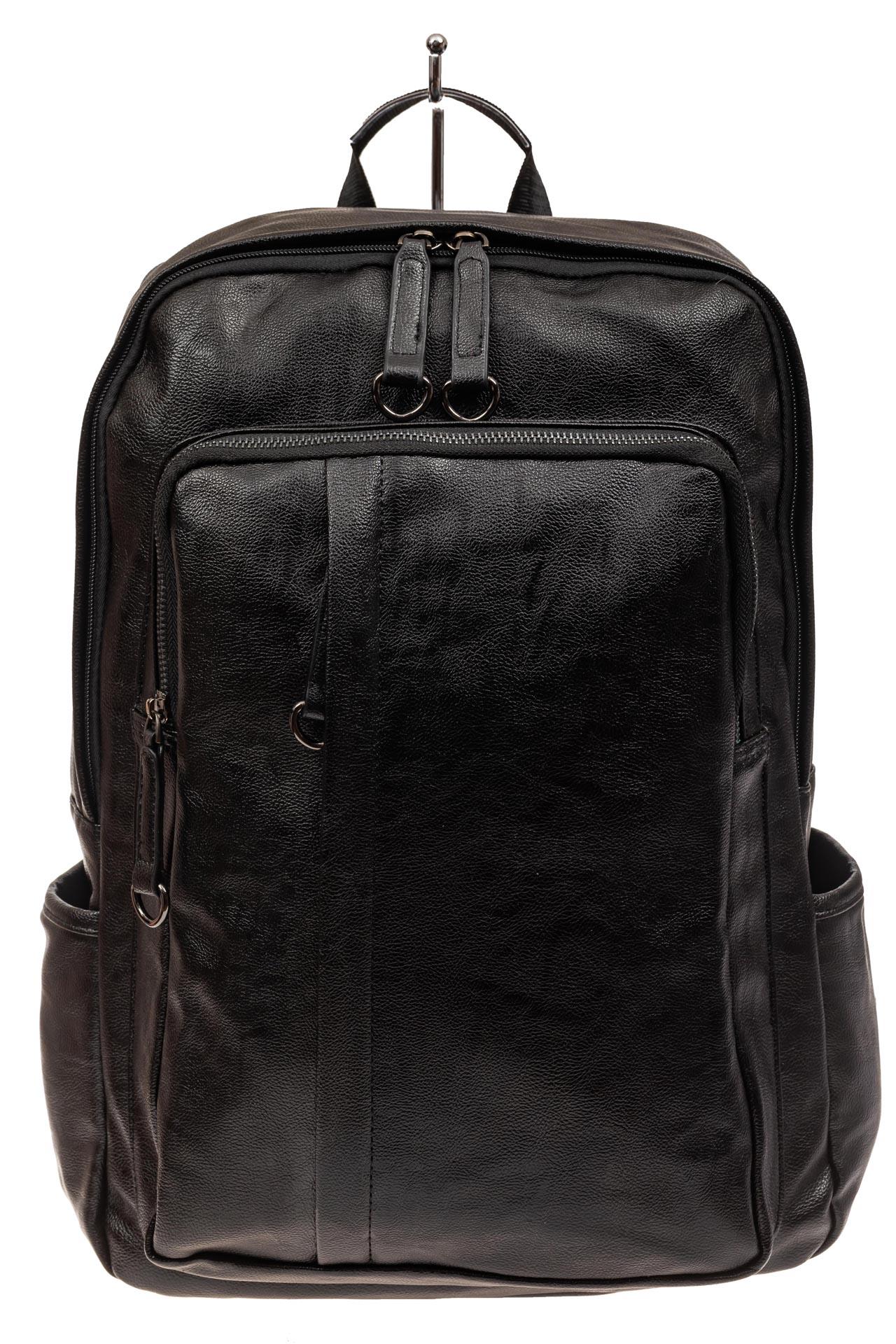 На фото 2 - Мужской городской рюкзак из искусственной кожи, цвет черный