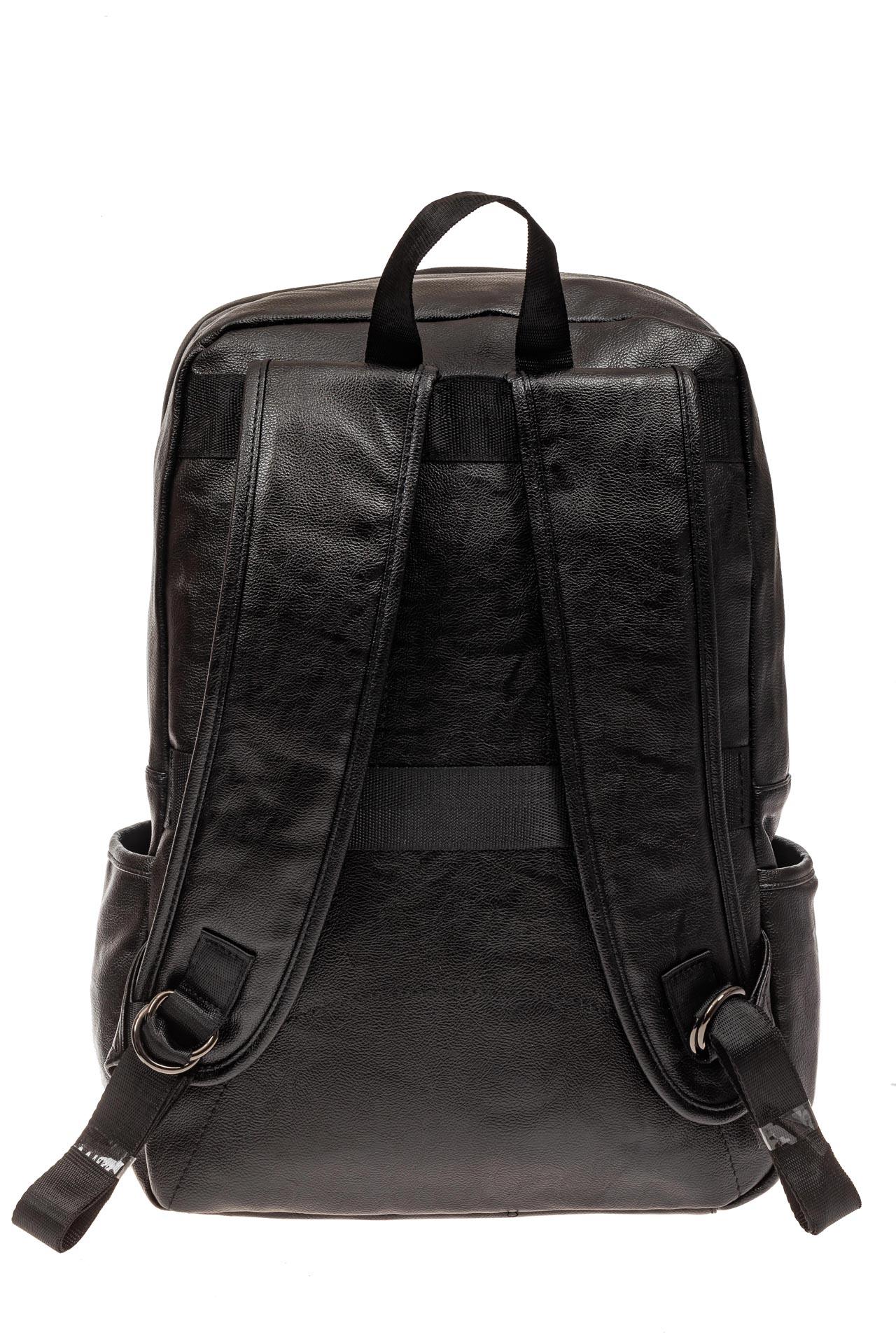 На фото 3 - Мужской городской рюкзак из искусственной кожи, цвет черный