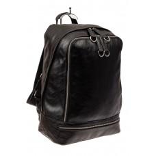 На фото 1 - Мужской рюкзак из искусственной кожи, цвет черный