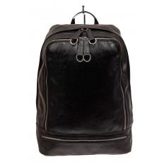 На фото 2 - Мужской рюкзак из искусственной кожи, цвет черный