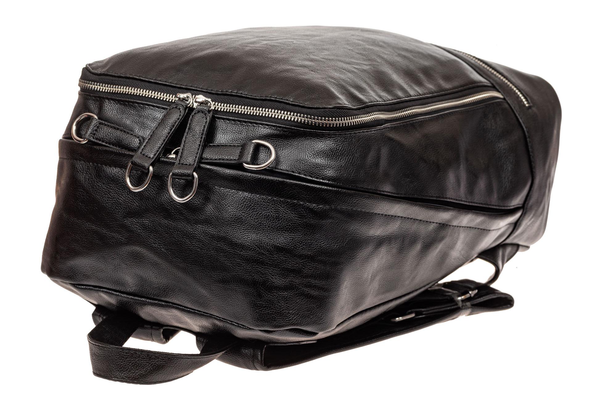 На фото 4 - Мужской рюкзак из искусственной кожи, цвет черный