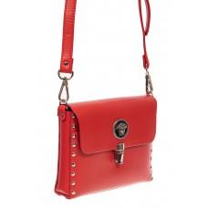 На фото 1 - Женская каркасная сумочка из натуральной кожи с металлическим декором, цвет красный