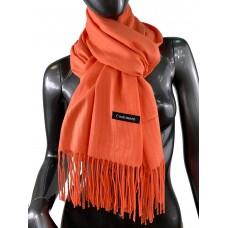 На фото 1 - Однотонный шарф-палантин из кашемира, цвет коралловый