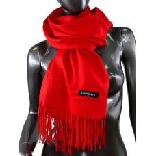 На фото 1 - Однотонный шарф-палантин из кашемира, цвет ярко-красный