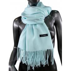 На фото 1 - Однотонный шарф-палантин из кашемира, цвет нежная мята