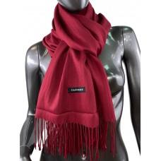 На фото 1 - Однотонный шарф-палантин из кашемира, цвет бордо