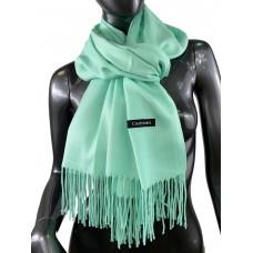 На фото 1 - Однотонный шарф-палантин из кашемира, цвет зелёная мята