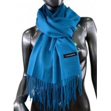 На фото 1 - Однотонный шарф-палантин из кашемира, цвет морской волны