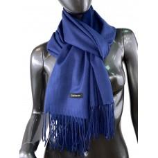 На фото 1 - Однотонный шарф-палантин из кашемира, цвет берлинской лазури