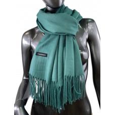 На фото 1 - Однотонный шарф-палантин из кашемира, цвет бирюзово-зелёный