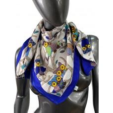 На фото 1 - Шёлковый платок с совами, цвет синий