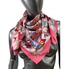 На фото 1 - Шёлковый платок с совами, цвет ярко-розовый