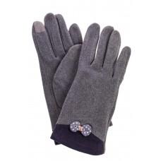 На фото 1 - Классические перчатки женские текстильные, цвет серый
