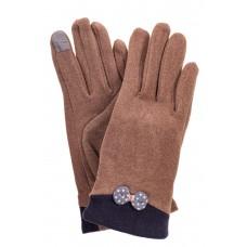 На фото 1 - Классические перчатки женские из текстиля с бантиком, цвет бежево-коричневый