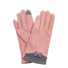 На фото 1 - Классические перчатки женские текстильные, цвет розовый