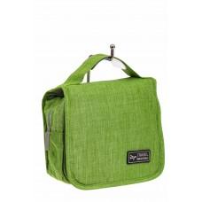 На фото 1 - Дорожная косметичка из текстиля, цвет зеленый