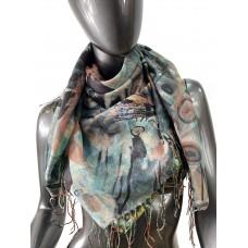 На фото 1 - Двухсторонний платок батик из хлопка, мультицвет
