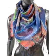 На фото 1 - Двухсторонний платок батик из хлопка, разноцветный